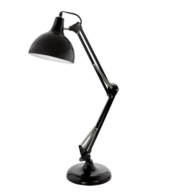 Lampa biurkowa Borgillio czarna metalowa wysoka łamana E27