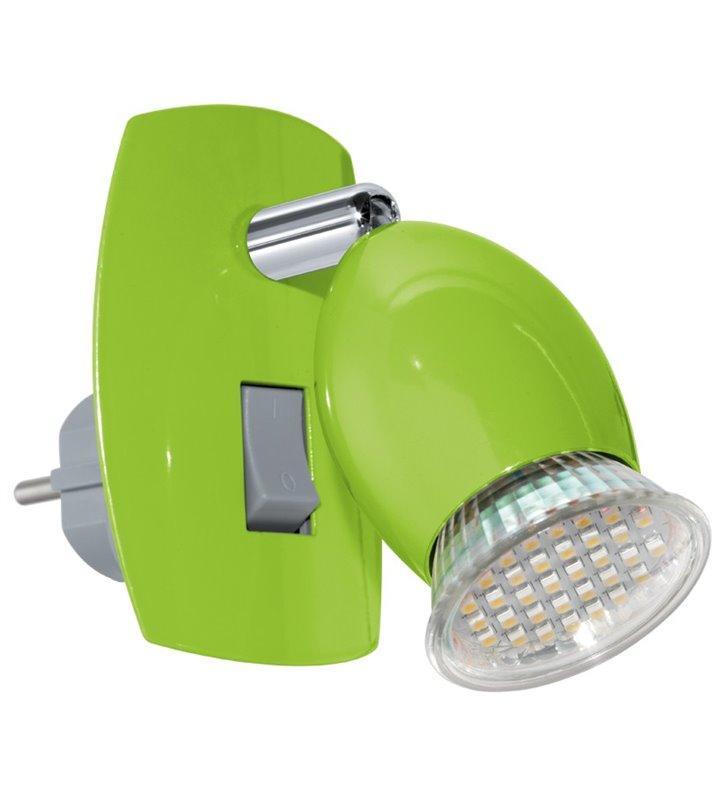 Lampa kinkiet z wtyczką wpinana do gniazdka zielona Brivi(4)