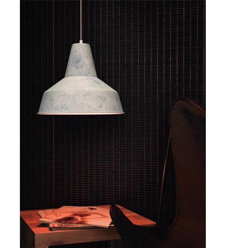 Lampa wisząca Somerton metalowa pojedyncza w stylu vintage loftowym biała wapnowana