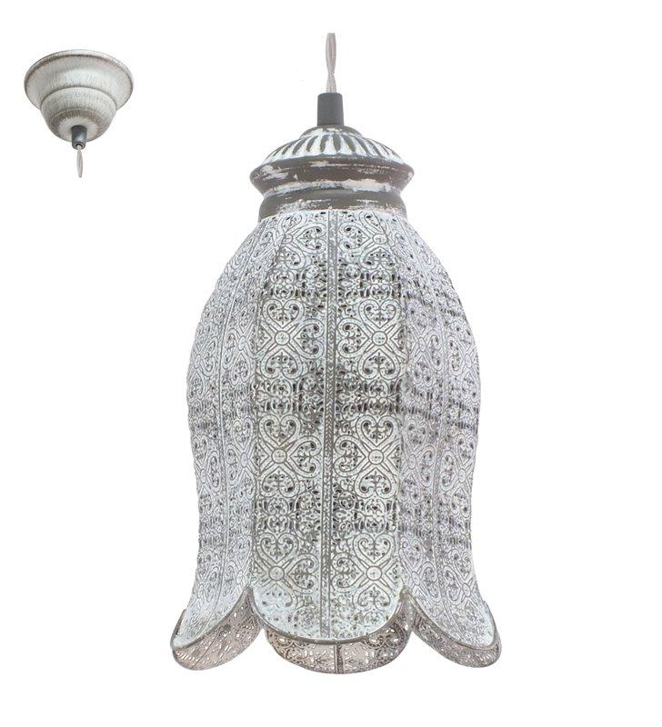 Lampa wisząca Talbot1 elegancka ażurowa pojedyncza w stylu vintage klosz kwiat