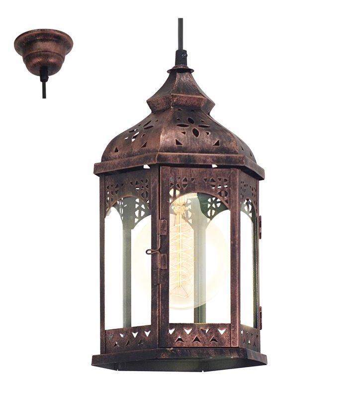 Lampa wisząca Redford1 elegancka pojedyncza w stylu vintage wisząca latarenka