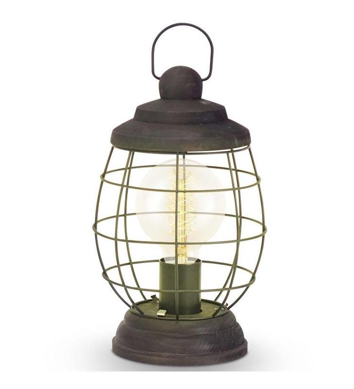 Lampa stołowa Bampton latarenka w stylu vintage brązowa