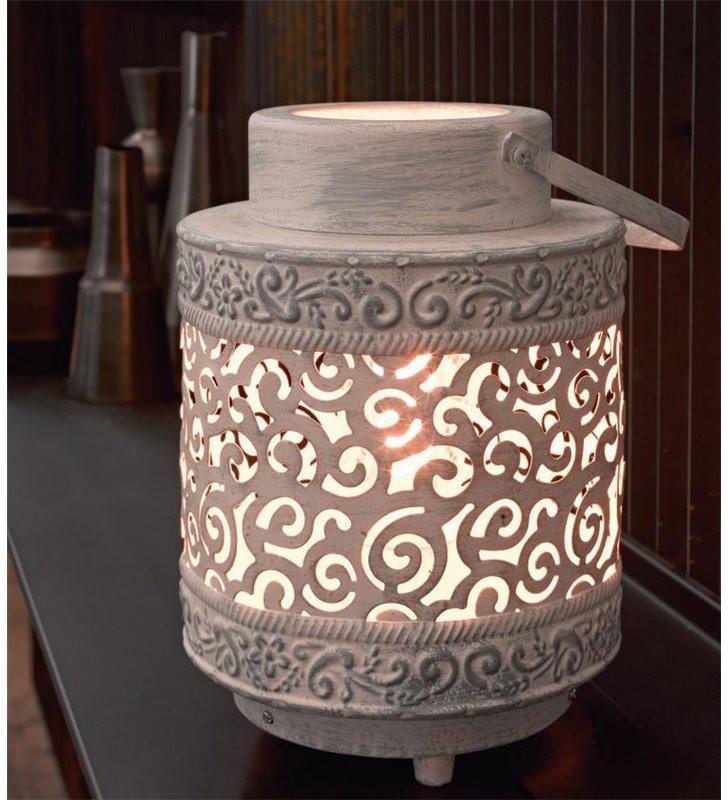 Lampa stołowa Talbot lampion w stylu vintage szara