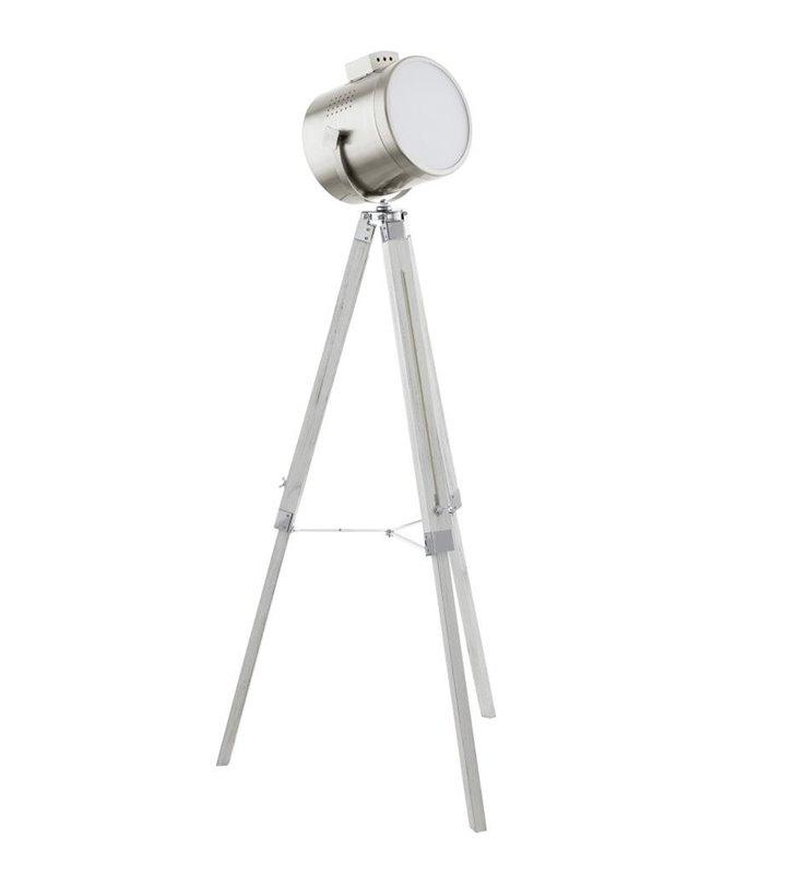 Lampa podłogowa Upstreet reflektor na trzech drewnianych nogach na statywie