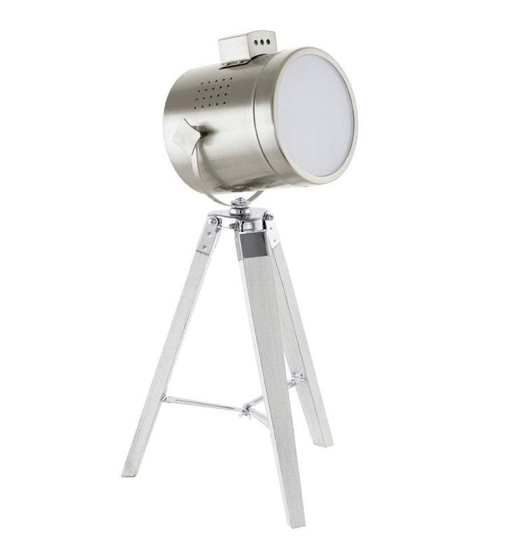 Lampa stołowa Upstreet reflektor na trzech drewnianych nogach na statywie