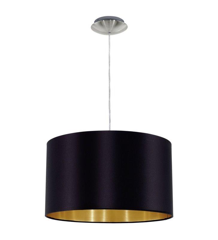 Lampa wisząca Maserlo okrągła czarna wewnątrz złota abażur