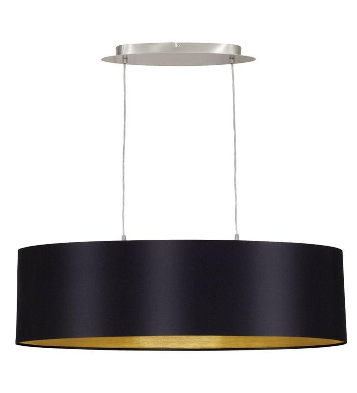 Lampa wisząca Maserlo podłużna czarna wewnątrz złota abażur nad stół do jadalni nad wyspę kuchenną