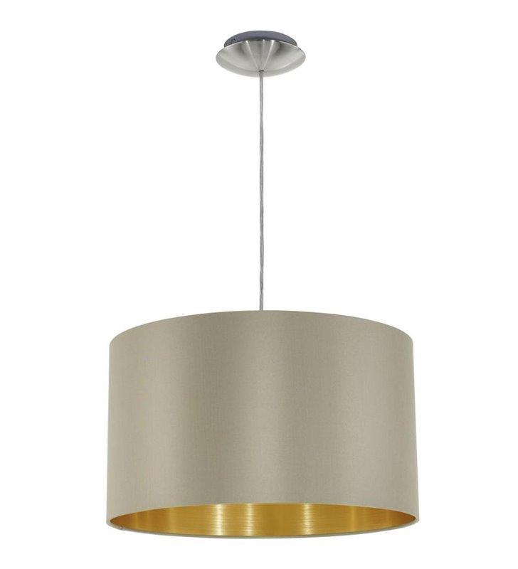 Lampa wisząca Maserlo okrągła taupe środek złoty abażur - DOSTĘPNA OD RĘKI