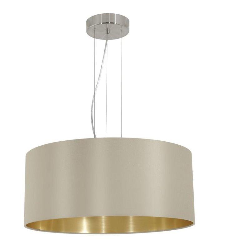 Lampa wisząca Maserlo okrągła taupe środek złoty abażur