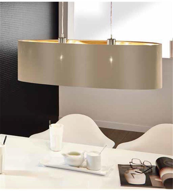 Lampa wisząca Maserlo podłużna taupe środek złoty abażur nad stół wyspę kuchenną do jadalni - OD RĘKI