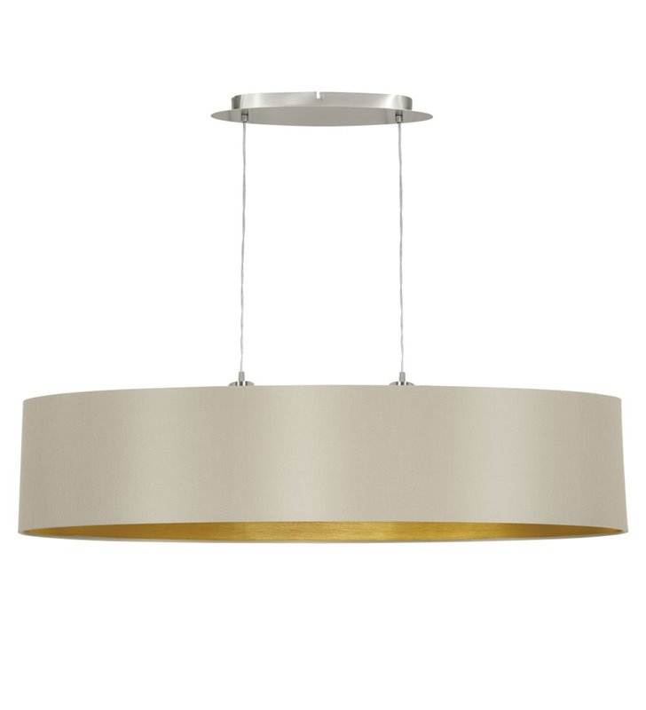 Lampa wisząca Maserlo duża podłużna taupe środek złoty abażur nad stół wyspę kuchenną do jadalni