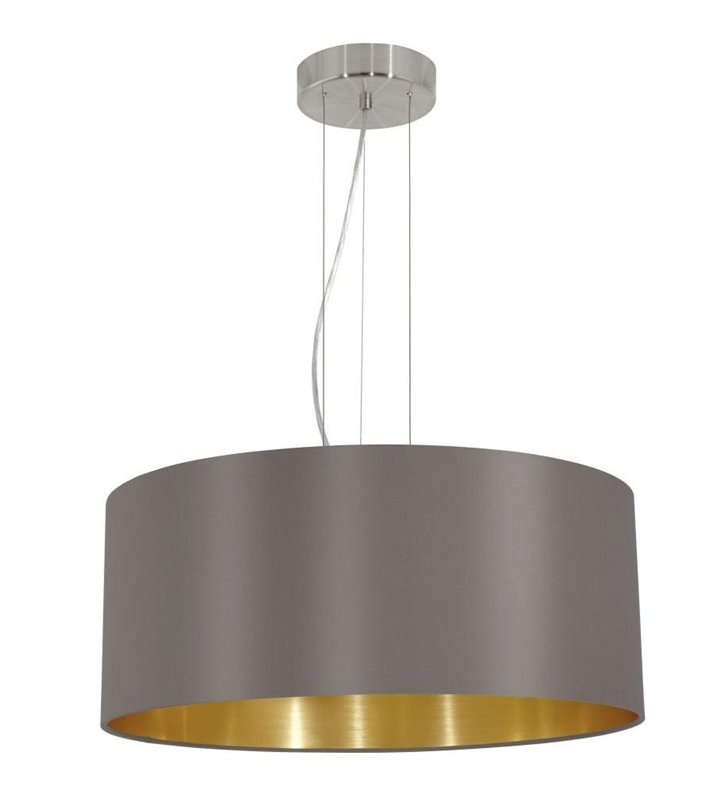Maserlo lampa wisząca w kolorze cappuccino ze złotym środkiem okrągły abażur