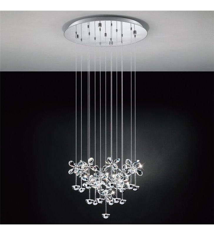 Lampa wisząca Pianopoli okrągła podsufitka ze zwisającymi kryształowymi kwiatuszkami