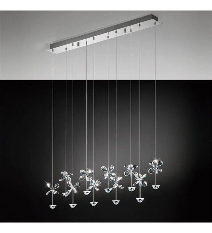 Lampa wisząca Pianopoli listwa ze zwisającymi kryształowymi kwiatuszkami