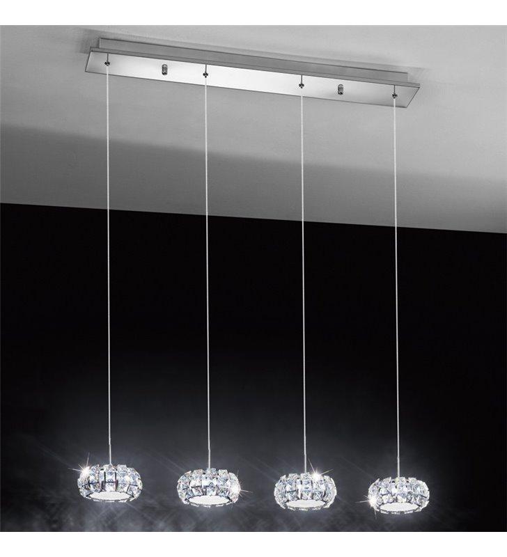 Lampa wisząca Corliano 4 punktowy zwis kryształowy