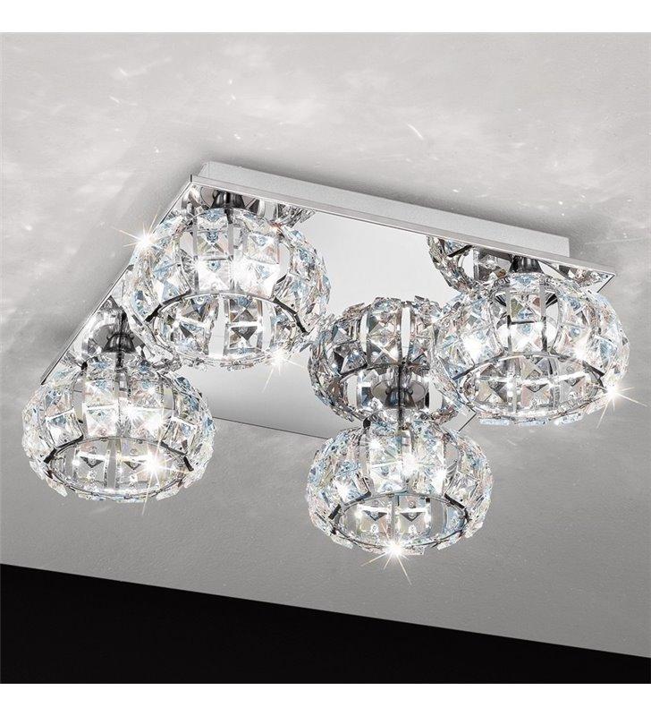 Plafon kryształowa lampa sufitowa Corliano 4 okrągłe kryształowe klosze