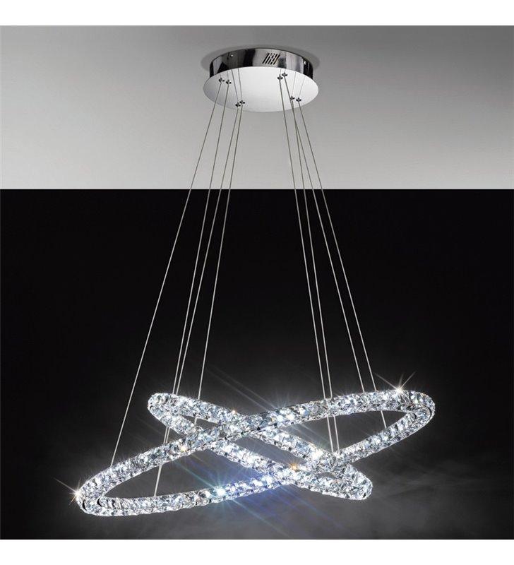 Lampa wisząca Toneria dwie kryształowe obręcze