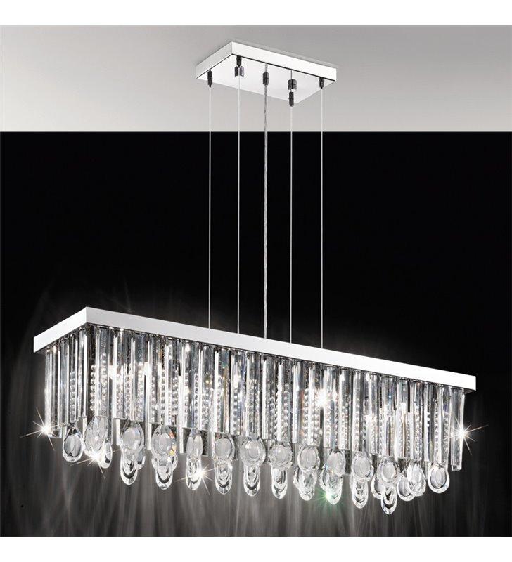 Lampa wisząca Calaonda kryształowa podłużna nad stół do jadalni salonu- DOSTĘPNA OD RĘKI