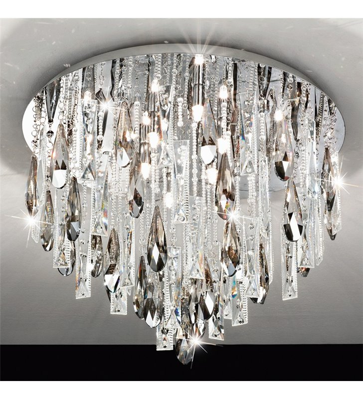Plafon kryształowa okrągła lampa sufitowa Calaonda 580 bezbarwne i dymione kryształki