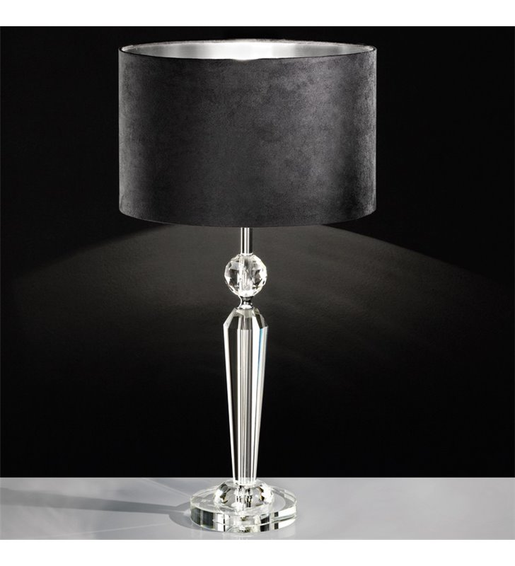 Pasiano stylowa lampa stołowa z kryształową podstawą i czarnym abażurem