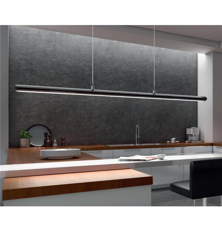 Lampa wisząca Pellaro czarna matowa podłużna nad stół do jadalni biura ze ściemniaczem dotykowym