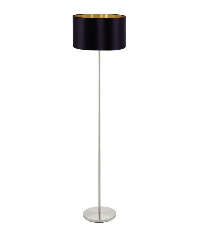 Lampa podłogowa Maserlo czarny abażur ze złotym środkiem