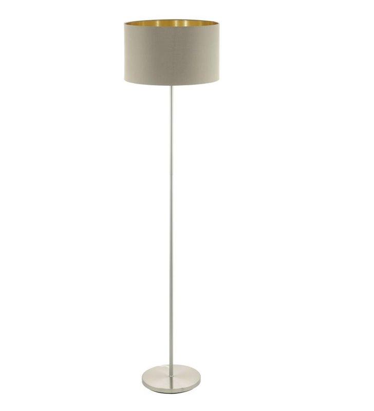 Lampa podłogowa Maserlo abażur w kolorze taupe ze złotym środkiem
