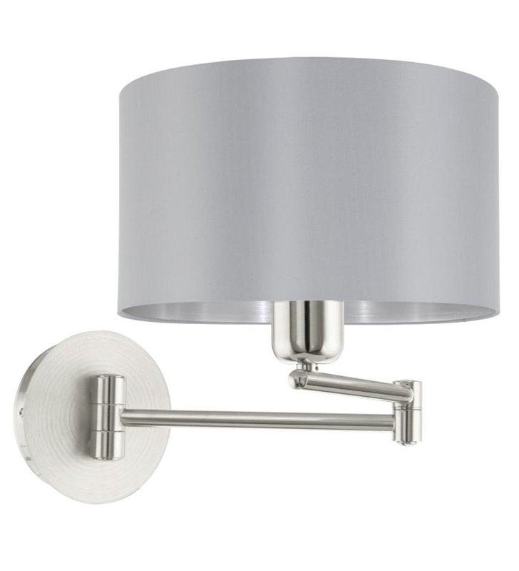 Maserlo kinkiet w kolorze szarym ze srebrnym środkiem ze składanym ramieniem do salonu sypialni przedpokoju