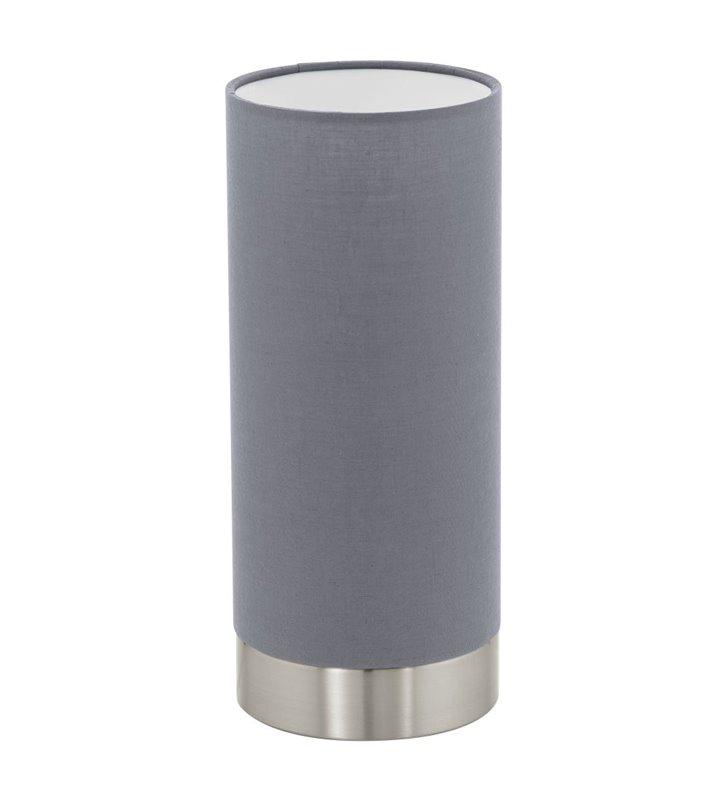 Lampa stołowa Pasteri tuba abażur szary ze ściemniaczem i włącznikiem dotykowym