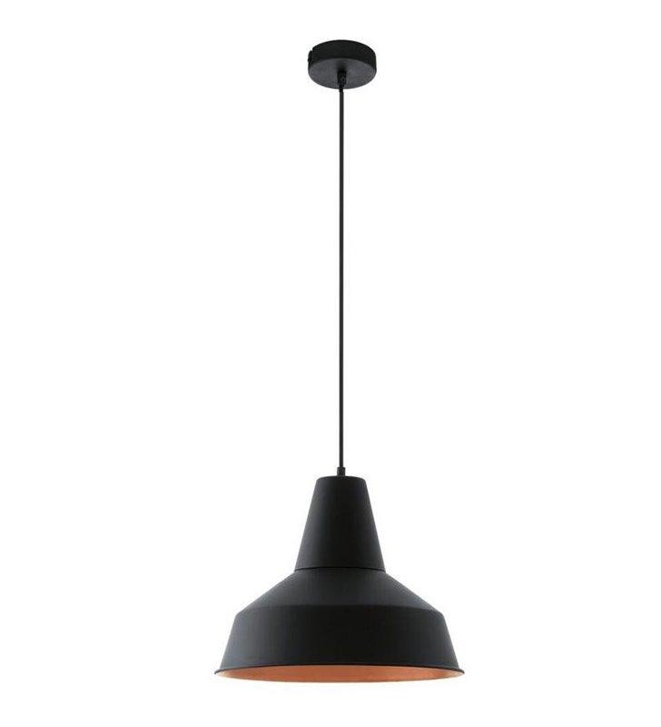 Lampa wisząca Somerton metalowa czarna w środku miedziana w stylu vintage loftowym