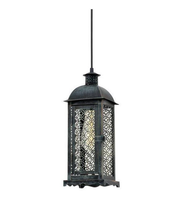 Lampa wisząca w kształcie latarenki Lisburn1 kolor patynowana zieleń