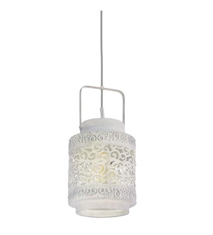 Lampa wisząca Talbot jak lampion szara ażurowa w stylu vintage