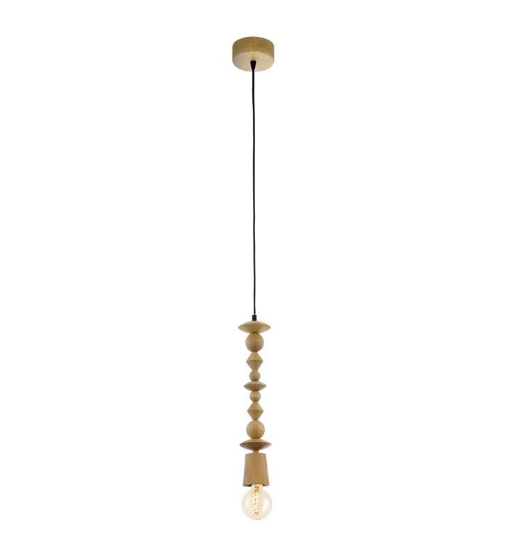 Lampa wisząca Avoltri oprawka drewniana dąb w stylu vintage