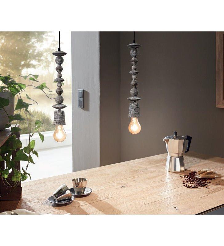 Avoltri lampa wisząca oprawka drewniana w kolorze czarnym patynowanym styl vintage
