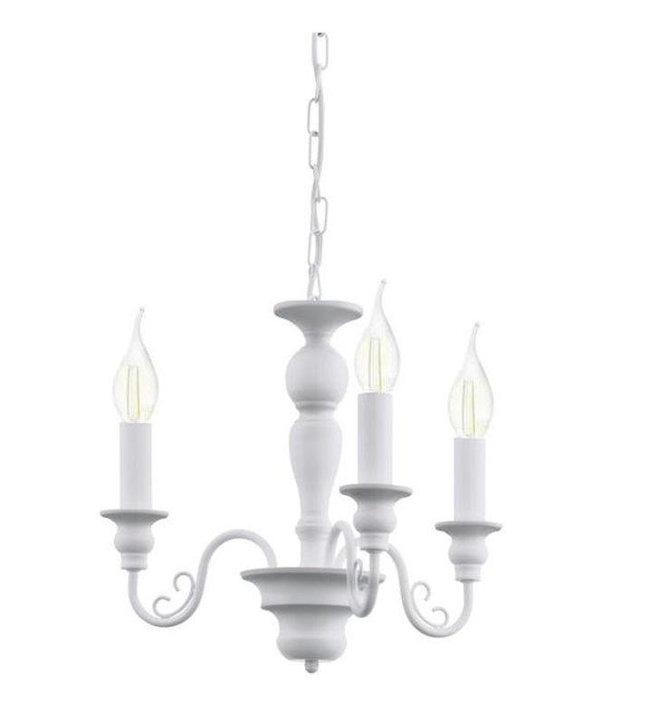 Żyrandol Caposile biały świecznikowy 3 ramienny z możliwością montażu abażurów