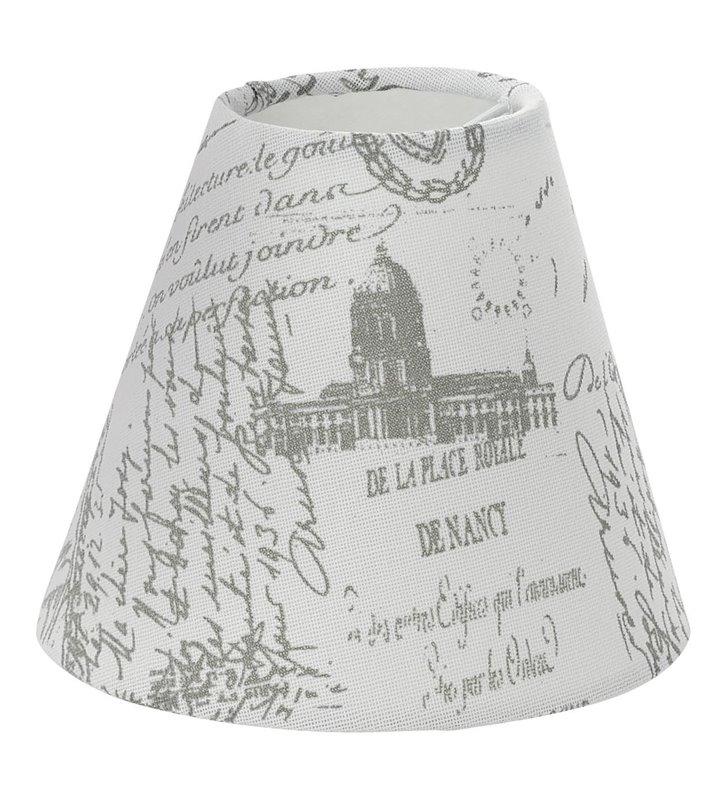 Lampa Vintage(4) - biały abażur z napisami - DOSTĘPNY OD RĘKI