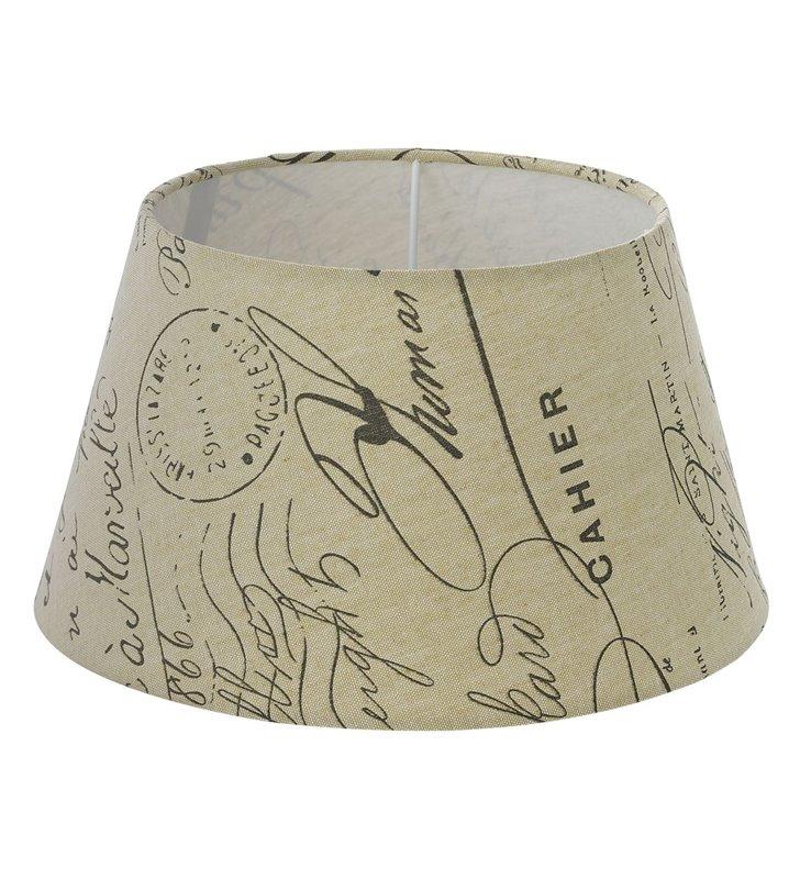 Lampa Vintage(4) - beżowy abażur z napisami