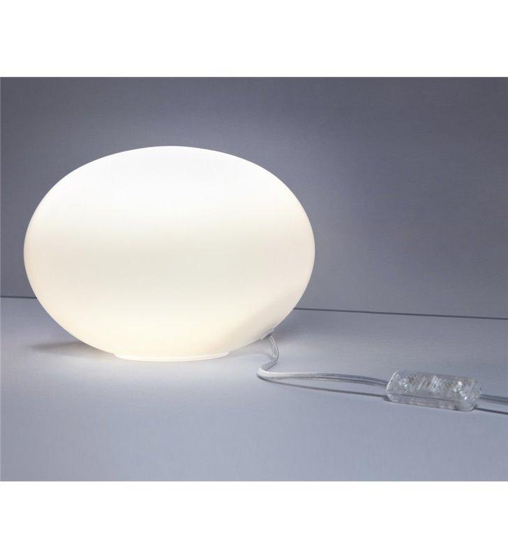 Lampa stołowa Nuage 225 szklana biała kula do salonu sypialni na komodę stolik nocny