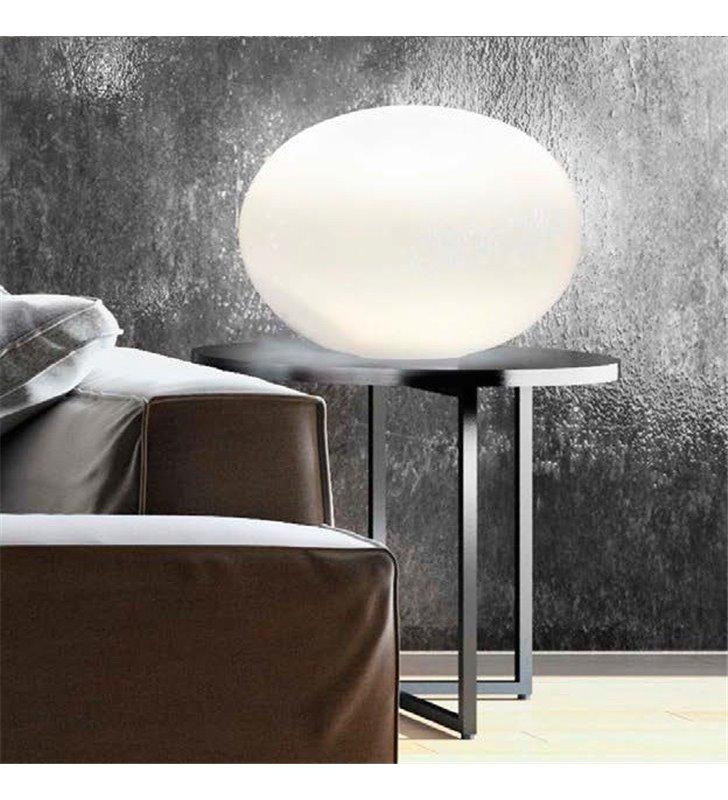 Lampa stołowa Nuage 400 szklana biała kula do salonu sypialni na komodę stolik nocny
