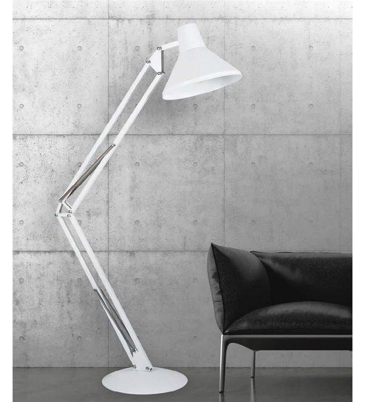 Nowoczesna biała łamana lampa podłogowa Big Boy jak biurkowa do salonu sypialni biura