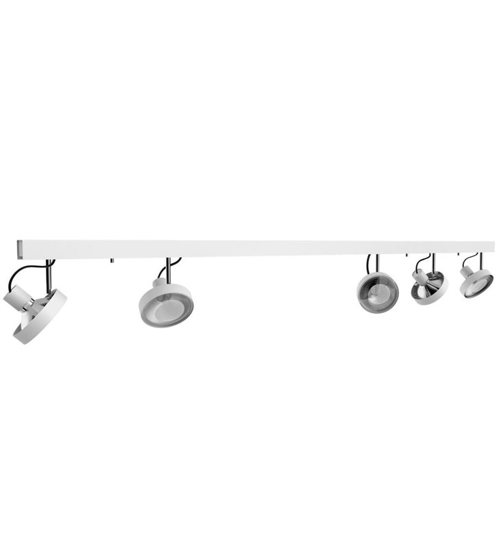 Lampa sufitowa spot 5 punktowy Cross White biała klosze rozmieszczone nierównomiernie