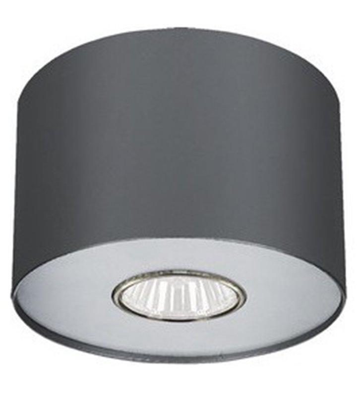 Grafitowa lampa sufitowa typu downlight walec Point Graphite z dodatkową białą nakładką