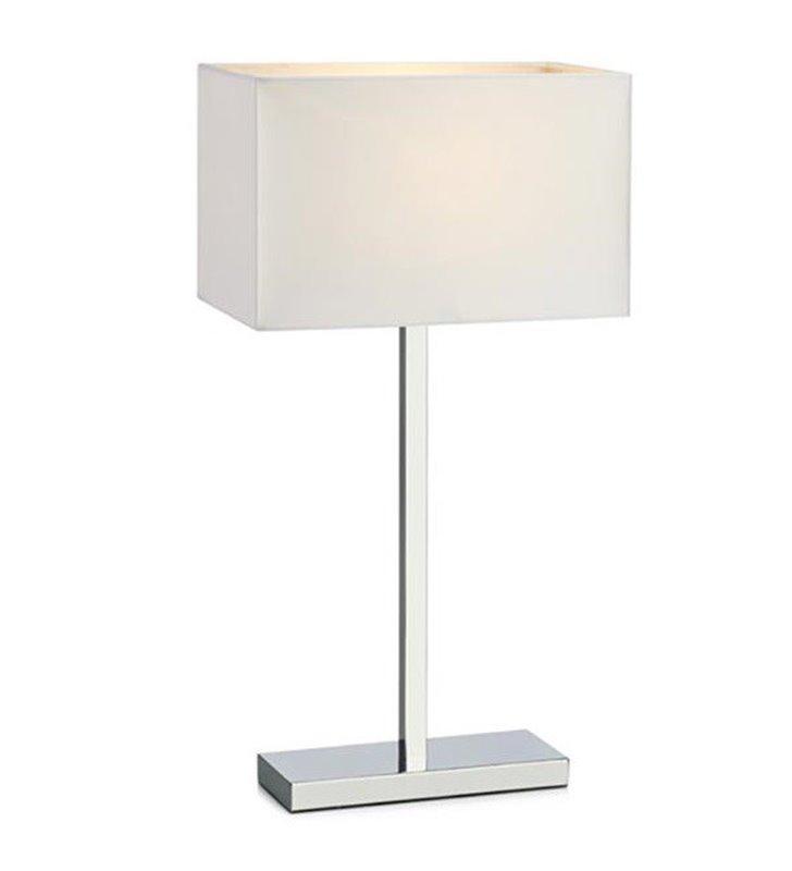 Lampa stołowa Savoy chromowana z prostokątnym białym abażurem z gniazdem USB do salonu sypialni na komodę stolik nocny