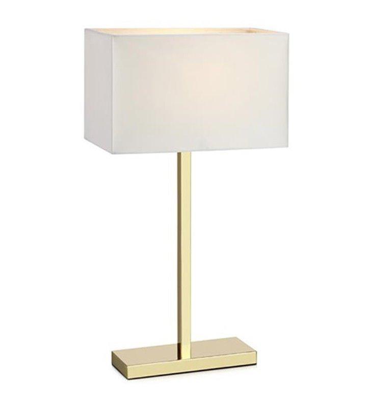Lampa stołowa Savoy w kolorze mosiądzu z prostokątnym białym abażurem z gniazdem USB do salonu sypialni na komodę stolik nocny