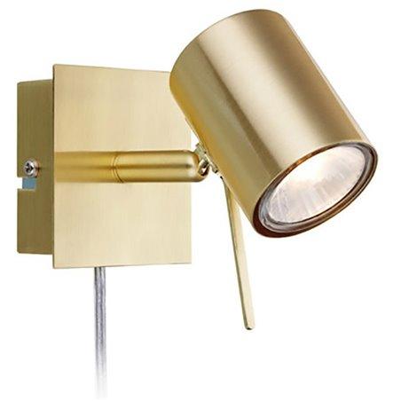 Pojedynczy kinkiet Hyssna mosiądz z przewodem z wtyczką włącznik na lampie