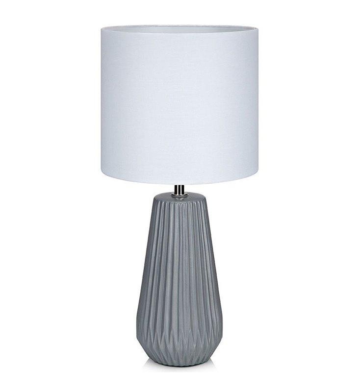 Lampa stołowa Nicci szara ceramiczna podstawa biały abażur do salonu sypialni na komodę stolik nocny