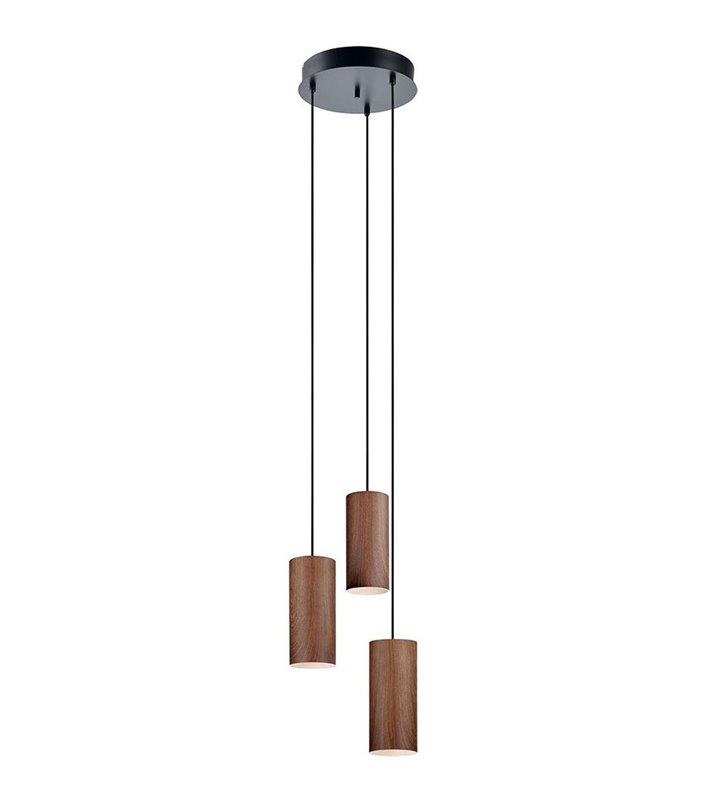 Lampa wisząca Gothia potrójna na okrągłej podsufitce klosze w kolorze drewna orzechowego