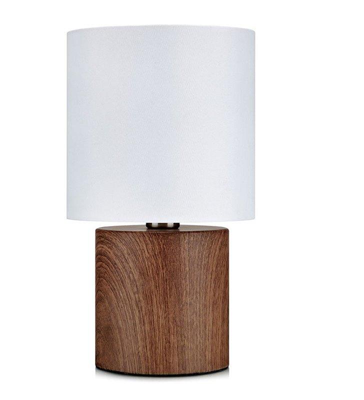 Lampa stołowa Gothia biały abażur podstawa w kolorze drewna orzechowego do sypialni na stolik nocny do salonu na komodę
