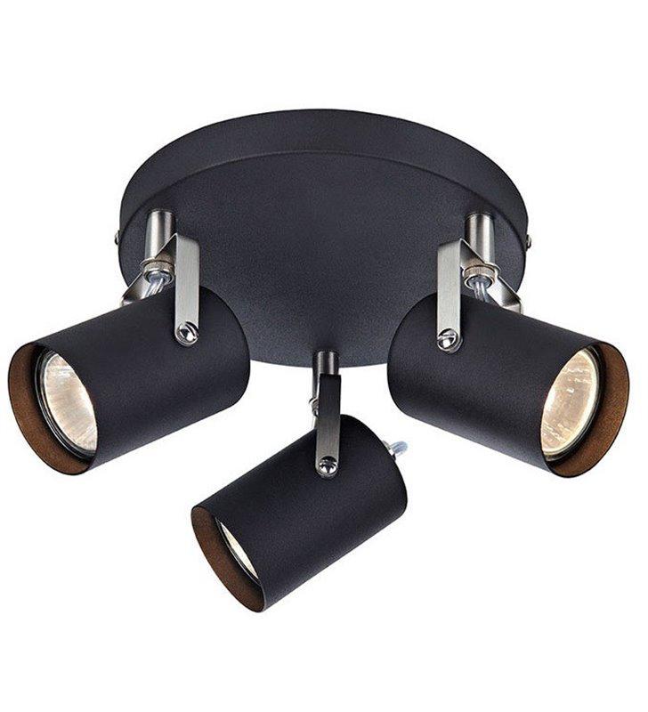 Lampa sufitowa Key okrągła czarna 3 reflektorki