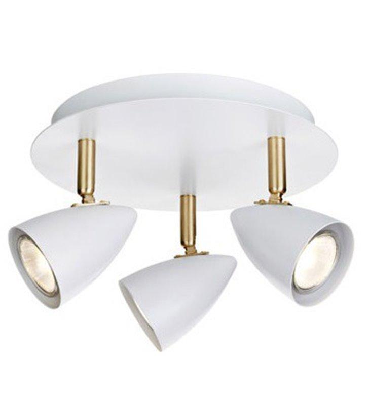 Lampa sufitowa Ciro okrągła biała z wykończeniem w kolorze mosiądzu 3 reflektorki